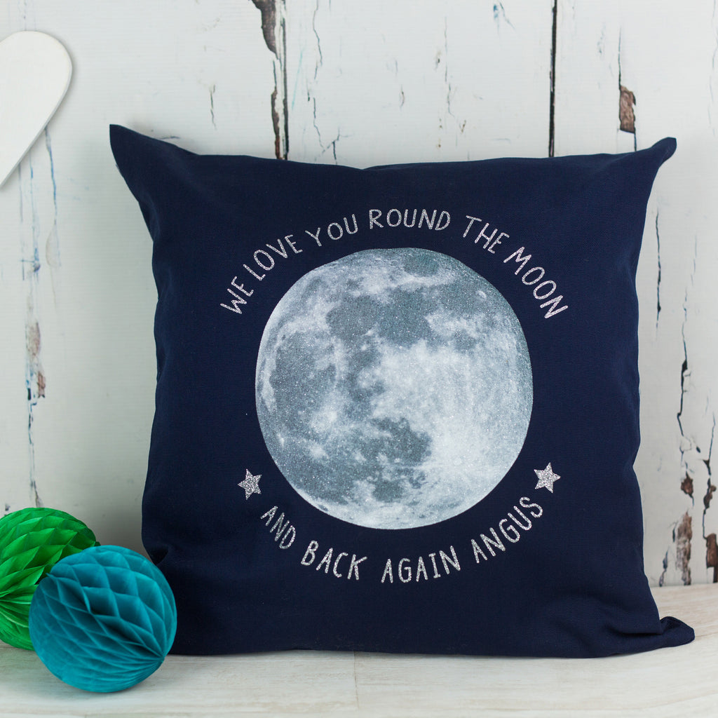 Personalised glitter moon cushion