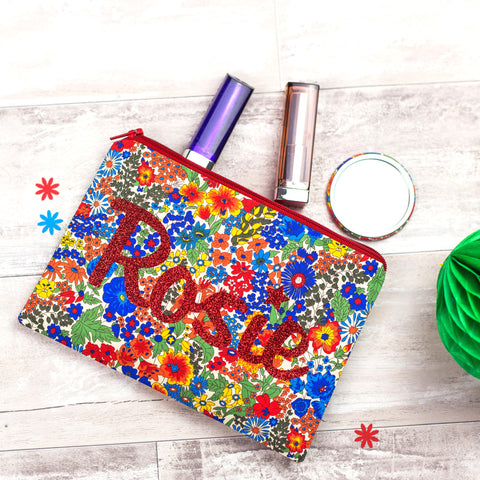 Liberty Glitter Name Make Up Bag