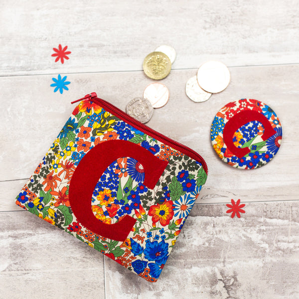 Liberty print coin purse and mirror set gift for girl