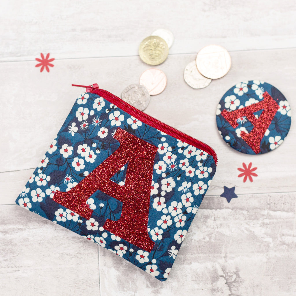 Liberty glitter initial coin purse and mirror set