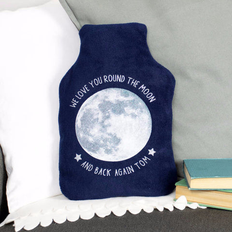 Moon glitter hot water bottle cover