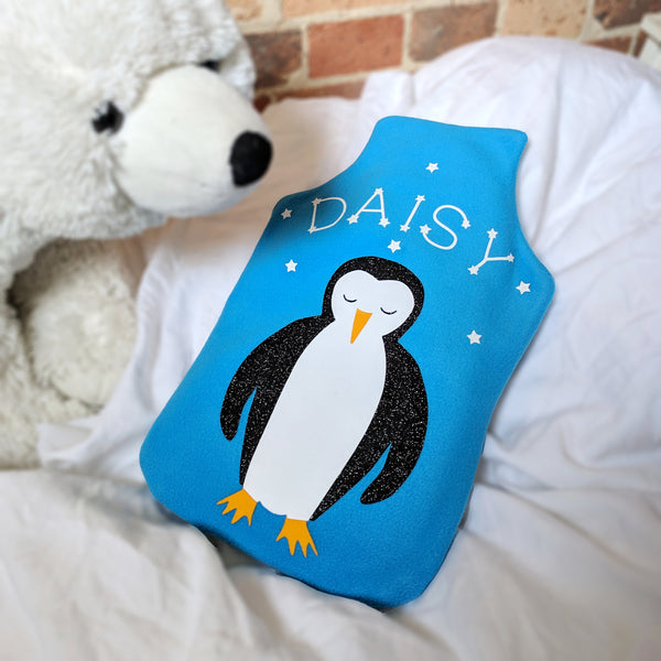 personalised penguin hot water bottle