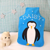 Sleeping penguin personalised hot water bottle cover