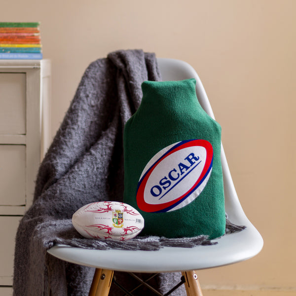 Rugby personalised hot water bottle cover