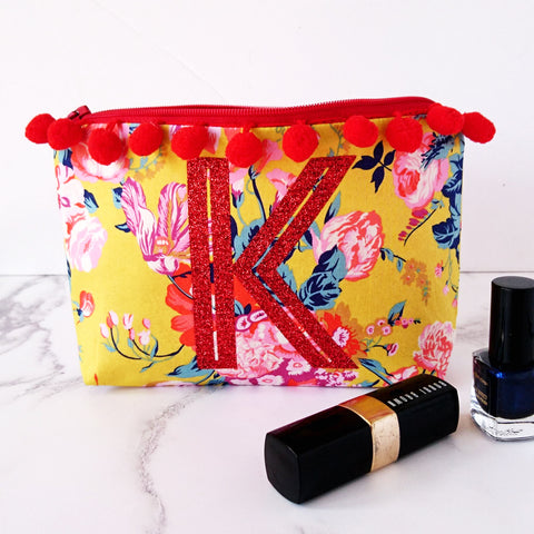 Floral Monogram Make Up Bag with pompoms