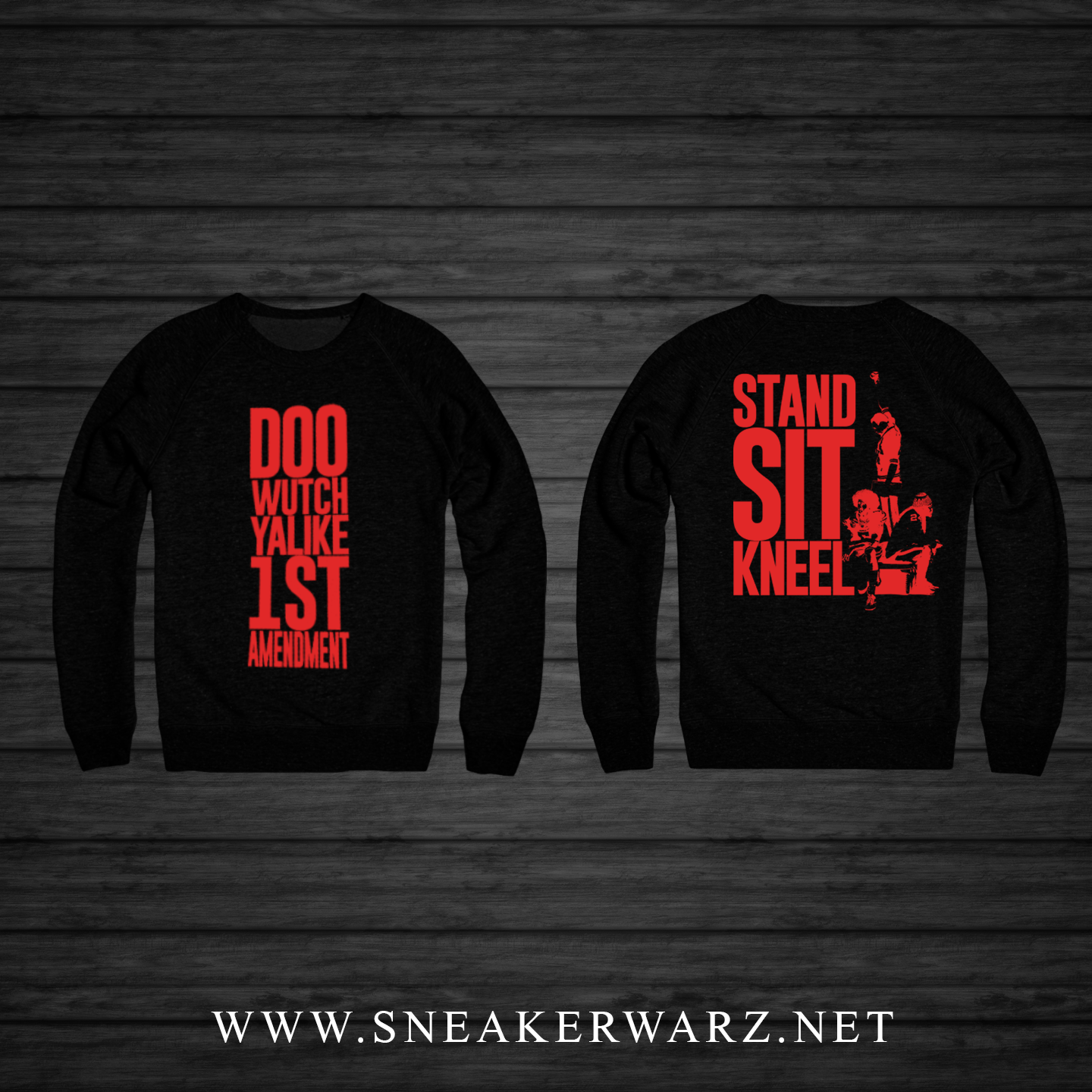 1st Amendment (Black/Red Crewneck)