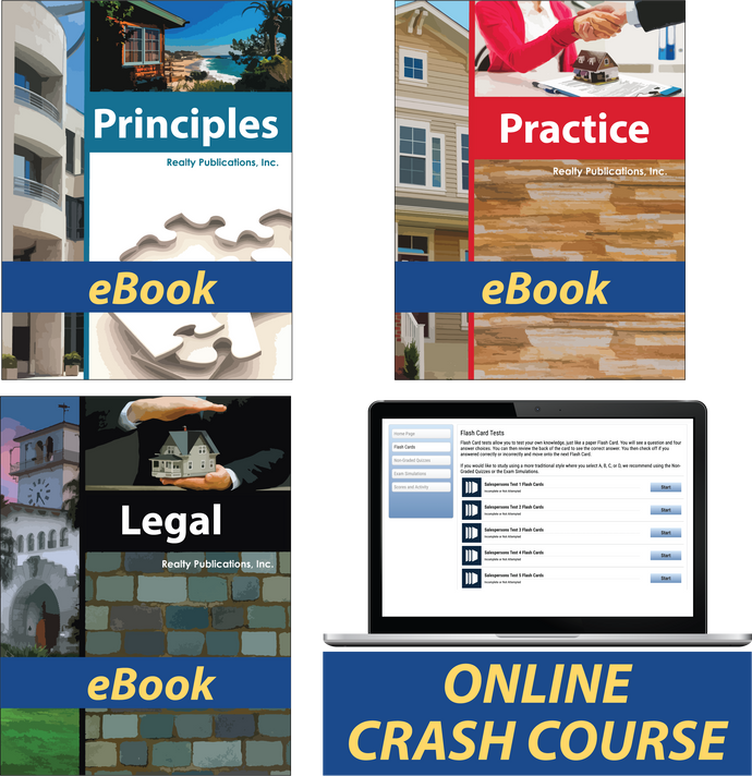 Pre-License Course Package with ebooks for Principles, Practice, and Legal Aspects. Online Salesperson's Crash Course included