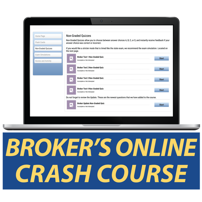 Broker's Online Crash Course Study Real Estate Online
