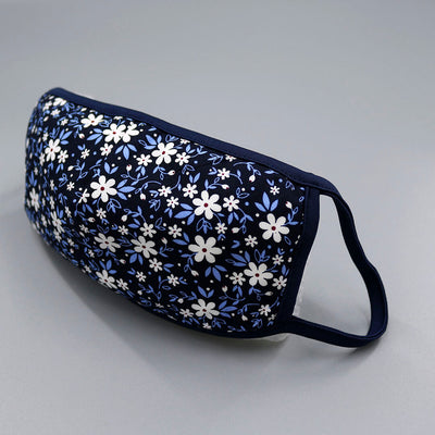 Mr.Buttermaker face mask with nano-filter, navy blue flowers
