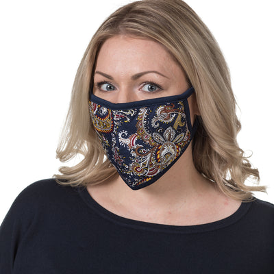 Mr.Buttermaker face mask with nano-filter, navy blue paisley