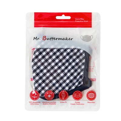 Mr.Buttermaker face mask with nano-filter, black and white flower