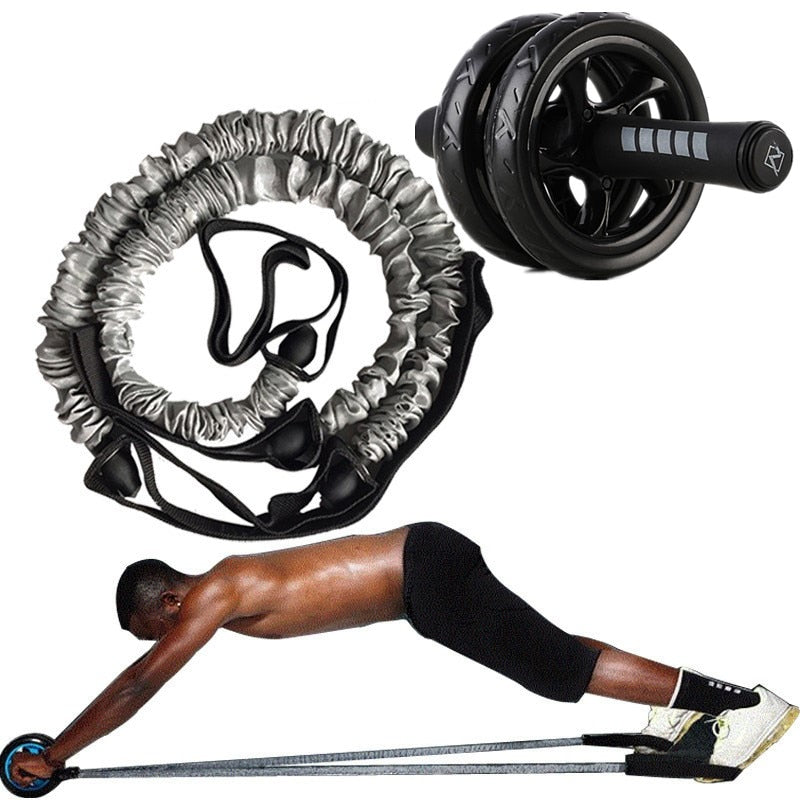 FITORX™ AB Workout Roller with 2 Pull Resistance Bands