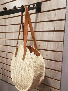 Jelly Bean Round Straw Bag w/ Leather Strap