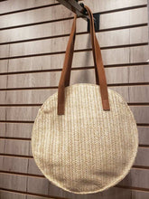 Load image into Gallery viewer, Jelly Bean Round Straw Bag w/ Leather Strap