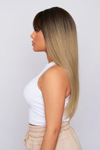 "Load image into Gallery viewer, Isla 22"" Ombre Brown Bangs Synthetic Hair Wig"