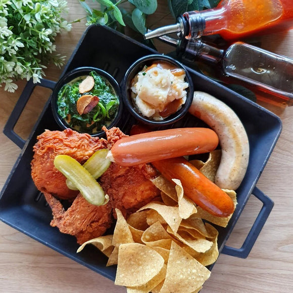 Oaxaca HOT Chicken and Sausage Platter
