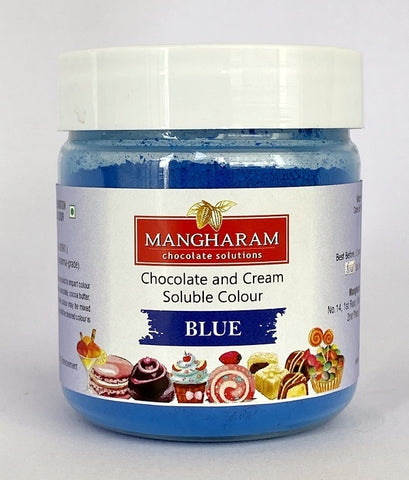 Mangharam Chocolate Colour BLUE - 25 gms Jar - Mangharam Chocolate Solutions