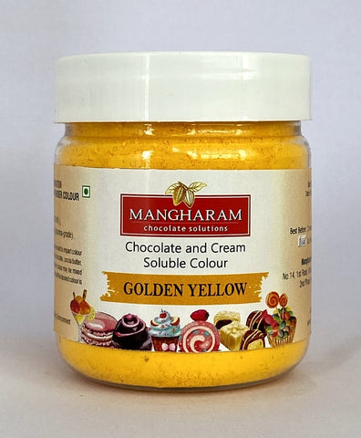 Mangharam Chocolate Colour GOLDEN YELLOW - 25 gms Jar - Mangharam Chocolate Solutions