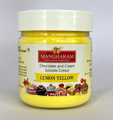 Mangharam Chocolate Colour LEMON YELLOW - 25 gms Jar - Mangharam Chocolate Solutions