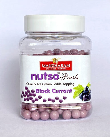Mangharam NUTSO Pearls Cake Ice Cream Toppings BLACK CURRANT - 100g Jar - Mangharam Chocolate Solutions