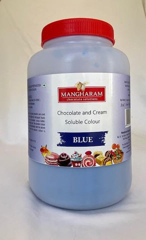 Mangharam Chocolate & Cream soluble Colour BLUE - 500 gms Jar - Mangharam Chocolate Solutions