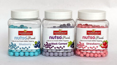 Mangharam NUTSO Pearls Cake Toppings Combo BLUEBERRY, BLACKCURRANT & STRAWBERRY  - 100g x 3 Jars