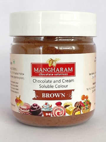 Mangharam Chocolate Colour BROWN - 25 gms Jar - Mangharam Chocolate Solutions
