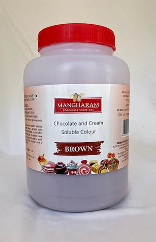 Mangharam Chocolate & Cream soluble Colour BROWN - 500 gms Jar - Mangharam Chocolate Solutions