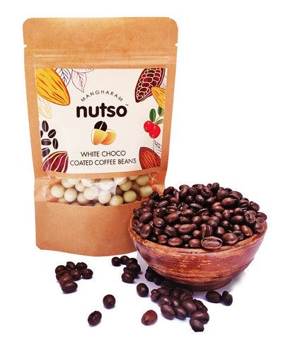 Mangharam Nutso White Choco Coated Coffee Beans - 100g Standipack - Mangharam Chocolate Solutions