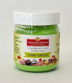 Mangharam Chocolate Colour LIME GREEN - 25 gms Jar - Mangharam Chocolate Solutions
