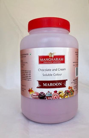 Mangharam Chocolate Colour MAROON - 500 gms Jar - Mangharam Chocolate Solutions