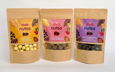 NUTSO Mangharam Chocolate-coated Almond, Cranberries & Choco-coated Raisins