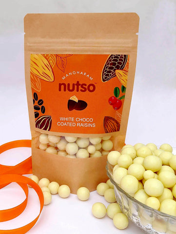 Mangharam Nutso White Choco Coated Raisins - 100g Standipack