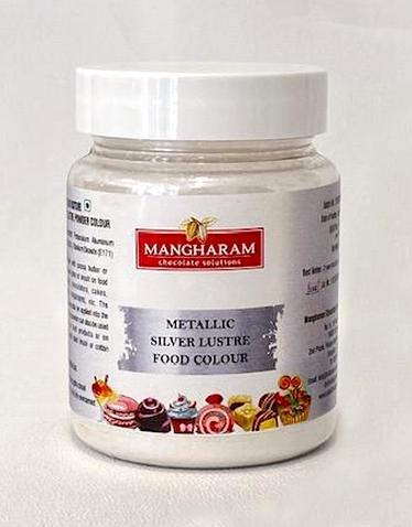 Mangharam Metallic Colour SILVER LUSTRE - 25 gms - Mangharam Chocolate Solutions