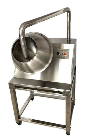 ChocoMan Spin Chocolate Panning Machine with Trolley - Mangharam Chocolate Solutions