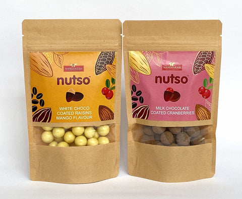 NUTSO Choco-coated Cranberries & White Chocolate-coated Raisins (Mango Flavor)