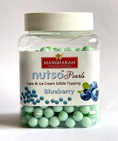 Mangharam NUTSO Pearls Cake Ice Cream Toppings BLUEBERRY - 100g Jar - Mangharam Chocolate Solutions