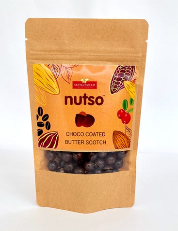 Mangharam Nutso Choco Coated Butter Scotch - 100g Standipack