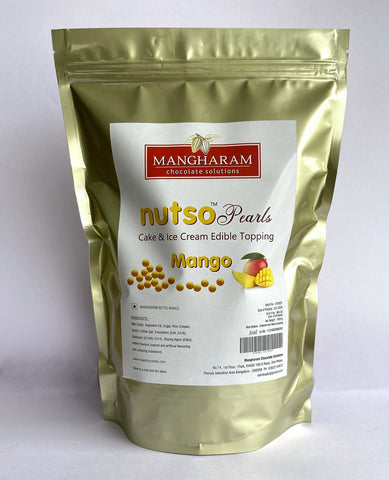 Mangharam NUTSO Pearls Cake Ice Cream Toppings MANGO - 1 Kg Jar