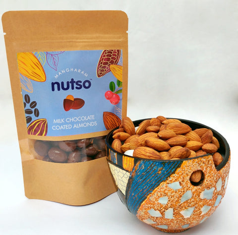 Mangharam Nutso Milk Chocolate Coated Almonds - 100g Standipack - Mangharam Chocolate Solutions