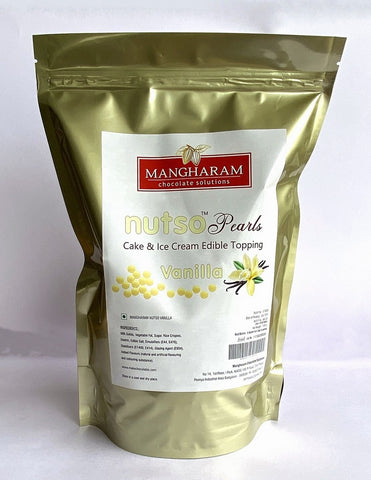Mangharam NUTSO Pearls Cake Ice Cream Toppings VANILLA - 1 Kg Jar