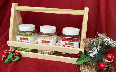 Mangharam Nutso Pearls Gift Hamper - 300 g Assorted in a Fancy Wooden Holder