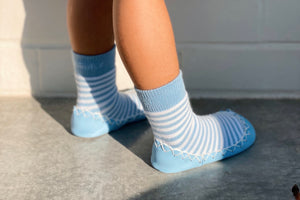 Baby Blue Eyes...traditional Swedish moccasin socks with non slip leather sole, ideal for indoor use