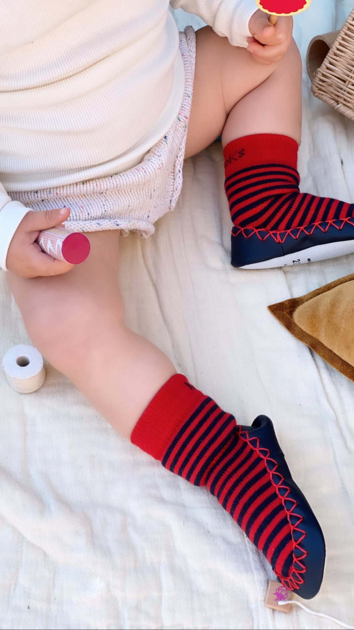 Non slip socks | MOKSOKS - a combination of grip socks & toddler slippers | Red & navy blue stripes