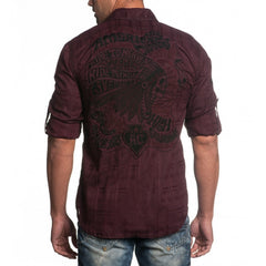 Affliction Indian Head Long Sleeve Woven - Burgundy