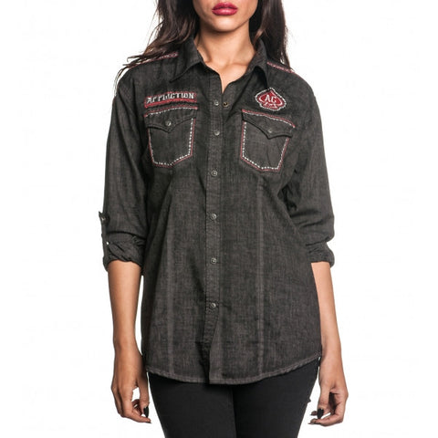 Affliction Metal Mind L/S Woven Womens