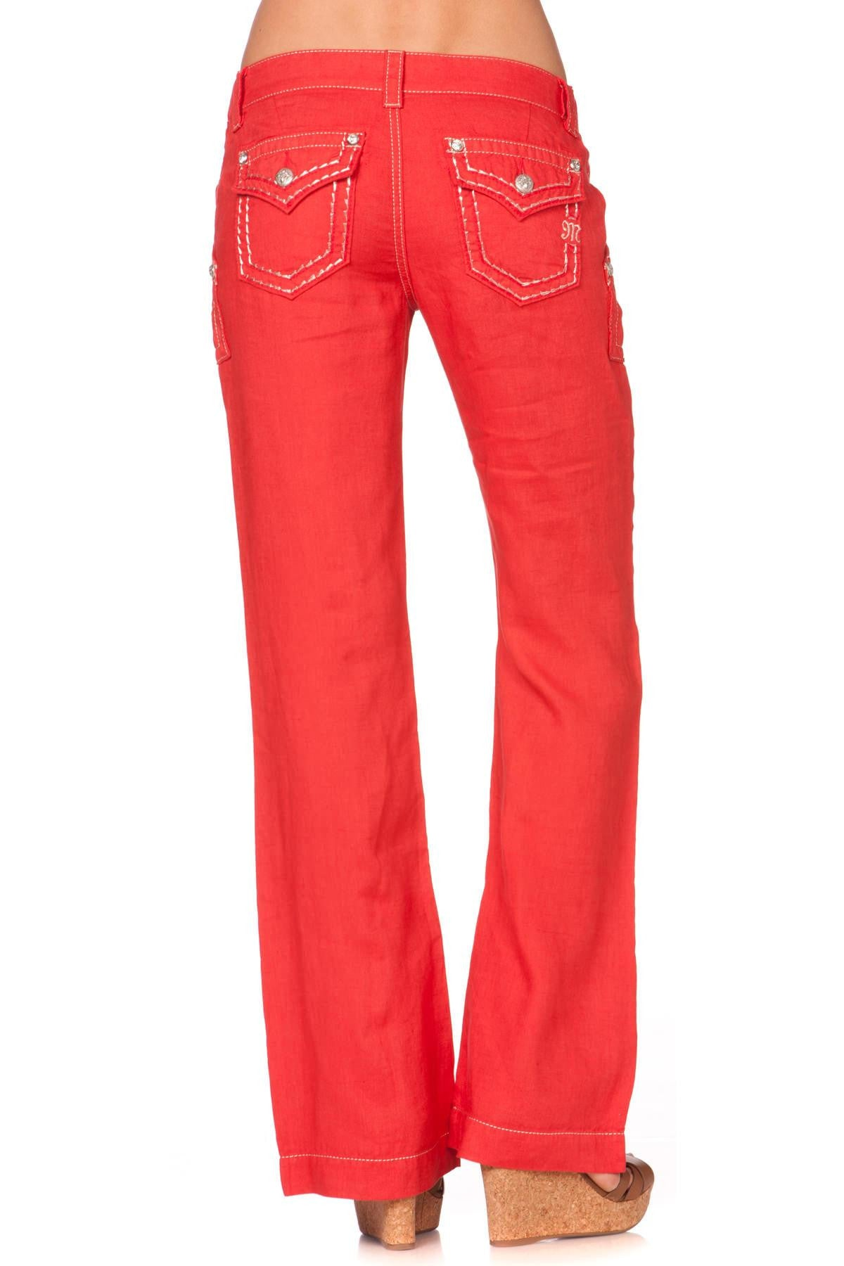 Miss Me Red Linen Pants