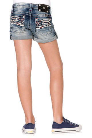 Miss Me Girls Front Blow Out Americana Denim Shorts