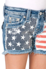 Miss Me Girls Front Cut Out Sequins Americana Shorts