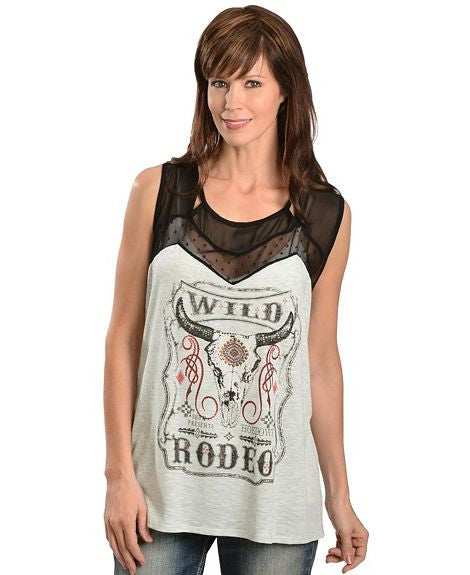 Cowgirls & Diamonds Studded Willd Rodeo Sleeveless Top